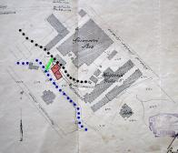 Mapa č. 8: Detailní plán továren Keller (dole ) a E.G.Pick co. z roku 1909  Modrá barva- staré hlavní zakryté koryto potoka, bude vyčištěno a opraveno. Černá barva- náhon Zelená barva- propojka náhonu směrem k hlavnímu korytu potoka