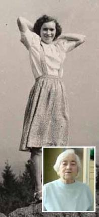 Mladá Růžena Francová -Filoušová na skalce nad Chudeřínem. Prodávala v bufetu v biografu. Ani dnes neztratila humor