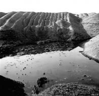 """Největším lákadlem pro mne však byly vodní plochy, vzniklé v """"kráterech"""" nedosypaného materiálu na původním terénu"""