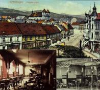 Průhled Širokou ulicí na náměstí TGM na barevné pohlednici z r. 1914. Vpravo dům čp. 57 po první přestavbě s fasádou v historizujícím slohu. Byl v něm známá restaurace Café Central. Interiérové vybavení před rokem 1928. Dům vyhořel do základů, byla to událost o které se mezi litvínovskými hovořilo dlouhá léta. Interiér kavárny byl obnoven v duchu 30. let 20. století