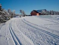 Běžecké stopy na Dlouhé Louce s penzionem Rozcestí z 8. ledna 2009.