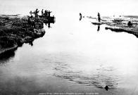 Přítok vody do jezera na konci Podkrušnohorského přivaděče byl oblíbeným místem místních rybářů r.1966