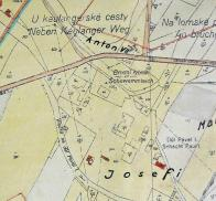Důlní mapa dolu Pavel I.s vyznačenými důlními poly se jmény Josefi a Marie, což bývá občas zaměňováno se jmény dolů