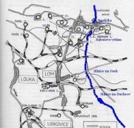 Mapka míst těžby Litvínovska. Důl Pavel II. vlevo nahoře