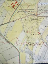 Na této mapce jsou patrny oba doly Pavel II, kreslen červeně a Pavel I, který se nacházel pod Lomskou ulicí
