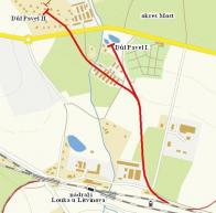 Schéma znázorňující připojení vleček k jednotlivým dolům . Vlečka vedla do blízkosti nádraží Louka u Litvínova, kde se křížily dráhy Moldavská a Podmokelská