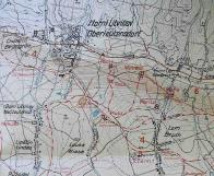 Šachta Wilhelm zakreslena na mapě z doby Sudet