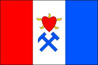 List tvoří tři svislé pruhy, červený, bílý a modrý. V bílém pruhu červené srdce hořící dokola pěti žlutými plamínky nad modrými zkříženými hornickými kladívky. Poměr šířky k délce listu je 2:3. Mariánské Radčice získaly právo užívat obecní znak a vlajku na základě rozhodnutí  dne 13. 11. 2002.