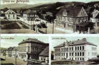 Okénková pohlednice Chudeřína nahoře pohled na ulici chudeřínskou, dole vlevo turistický hotel vpravo německá škola.
