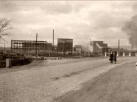 Komořany - pohled ze silnice, únor 1949
