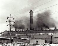 Komořany - stavba komínu v roce 1965
