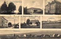 Zleva: Kostel s válčeným pomníkem, Škola, Klášter. Obecní úřad, Pošta, Továrna na zpracování antracitu,  Celkový pohled