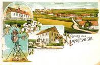 Kreslená okénková pohlednice. Vlevo nahoře místní škola, uprostřed Hostinec Loos,celkový pohled na obec směrem k severu a větrný generátor elektrické energie - předchůdce dnešní větrné elektrárny