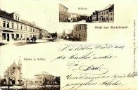 Zámek, ulice, kostel a škola, 1899