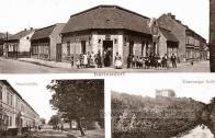 Ulice, zámek, vpravo dole zámek Jezeří, cca 1900