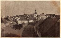 Pohled z věže na náměstí a hospodu asi 1905