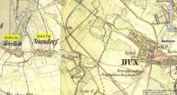 Hrdlovka a Nová ves na mapě kolem roku 1845.