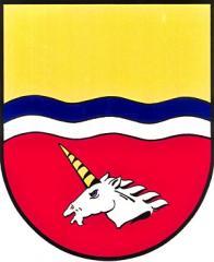 Znak obce s hlavou bájného kozoroha