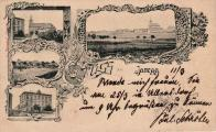 Jeníkov historický.Okénková pohlednice s klasickými obrázky kostela a školy
