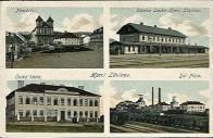 Okénková pohlednice. Nádraží v Louce a důl Pluto. Litvínovské náměstí a česká škola