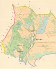Stabilní katastr-povinné císařské otisky cca 1842. Zajímavostí je, že naproti dnešního rybníka, po kterém není na mapě zatím ani památky, rozprostíral též velký rybník, Kühlteich-Chladný rybník