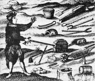 Ilustrace z Hornického lexikonu novinek a zajímavostí z roku 1730 zobrazuje staré hornické náčiní, používané od raného novověku. Přinesli je s sebou experti, horníci z rudných dolů, kteří přicházeli od poloviny 18. stol. do větších severočeských šachet, aby zde vedli horní dílo řádným způsobem