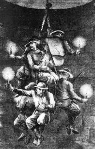 Fárání havířů na laně se svíčkami, dobová kresba