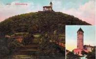 Celkový pohled na Zámecký vrch s hradem Hněvín roku 1909