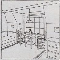 Interiér Librových domků - místnost