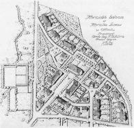 Hornická kolonie v Lomu u Mostu,kresba s velkou výpovědní hodnotou dává vyniknout původnímu návrhu. (1923-1925). Ne všechny navržené stavby byly zrealizovány