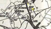 Žlutou barvou označena ulice Uhelná a důl Marie