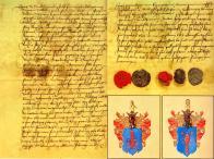 """Smlouva ve věci narovnání sporu o louky a porost zvané Kaulanger mezi urozenými vladyky panem Friedrichem Satanéřem z Drahovic a bytem v Hořanech a panem Abrahamem von der Jahnem na Hořejším Litvínově; listina sepsána česky roku 1553, v závěru listiny uděleny pečeti účastníků jednání. """" Letha MDLIII wnediely prowodnii stalase smluva czela a dokonala mezi vrozenými vladikamii panem Ffrydrychem Sathanerzem zdrahovin (z Drahovic - původcem chyby písař listiny, na jiném místě textu již správně) A Bytem whorzanech a panem abrahamem vonderyanem a na horzeyssym lythwinowie y namistie girzika Bratra sweho mladssyho nedílného..."""" Název Kaulanger, k jehož původu je několik jazykových výkladů, užíván již od středověku pro rozlehlé území ve východní části katastru Litvínova. Dělilo se o něj několik vlastníků včetně města Mostu. Koncem druhé poloviny 18. století zde začínala těžba hnědého uhlí, jejíž důlní pole sahala až k ochrannému pilíři města Horního Litvínova.  Rodový erb pánů z Jahnu užívaný starší větví. Na modrém poli červený rak klepety dolů. Rodový erb pánů z Jahnu užívaný mladší větví. Na modrém poli červený rak klepety nahoru."""