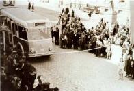 Slavnostní zahájení trolejbusové dopravy na Mírovém náměstí v Mostě