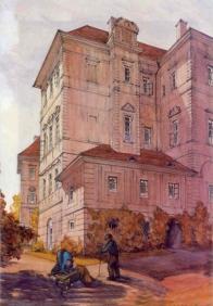 Přístavba kuchyně a rizall na severní straně zámku, zničený v 60.letech  20 století.
