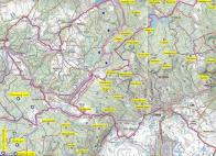 Mapka vrchů a kopců Krušných hor části Litvínovska
