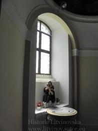 18/ Růžencová kaple - osmiboká.Mramorová křtitelnice z roku 1900 - 1901