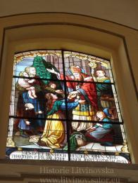 20- 25/ šest barevných oken,malba na skle,obrazy zhotovila firma Jeli a Neuhauer v letech 1900-1901 na přáni R. Fiedera
