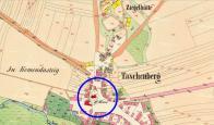 Kostel sv. Václava na mapě z r.1845