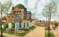 Malebný obrázek z pohlednice od Oskara Schmidta, nakreslený neznámo kdy ... Vydáno pohřebním ústavem města Mostu