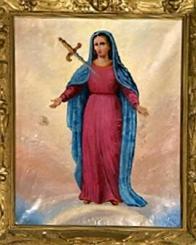 """Obraz Panny Marie - Matky důvěry, který je v Jeníkově uctíván.  Modlitba :  """"Maria, Matko důvěry, Tys neochvějně spoléhala na Boží lásku i v nejtěžších zkouškách svého života, když jsi pociťovala nebezpečí, bezmocnost a osamocenost a tím jsi dala Pánu příležitost, aby na Tobě vykonal veliké věci. Od Tebe se chceme učit opravdově důvěřovat našemu Bohu a tak jako Ty ho vytrvale milovat za všech okolností a odevzdaně s radostí přijímat jeho vůli i kdyby měnila naše plány a byla pro nás těžká. Maria, Tvé přímluvě svěřujeme spásu svou a svých bližních a všechny své pozemské úmysly a starosti, ať i skrze nás může být oslaven náš Pán. Amen"""
