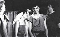 Karel Tomčík I ty,Caesare (1987). Zleva: Petr Žižka, Iva Žižková, Jiří Potrebuješ, Karel Tomčík. Foto:Luděk Prošek