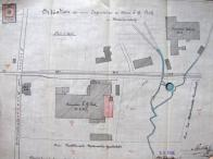 Dobový situační plán: Budova továrny E.G.Pick je na něm dole pod kolejištěm ještě před rozšířením objektu. Nad kolejovou dráhou továrna F. Schick co.