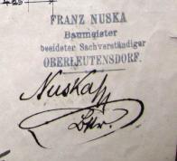 Otisk firemního razítko Fr. Nusky v německém jazyce. František Nuska-stavební mistr-přísežný znalec (dnes bychom řekli soudní znalec)