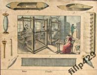 Dobová kresba zachycující tkaní