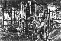 Tkalcovská dílna v klášterní cajkářské manufaktuře v Oseku r.1896