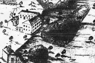 Klášterní cajkášká manufaktura v Oseku r.1751. Na kresbě se sestává ještě ze tří budov, ale do dnešních dnů jest dochováno budov již jen dvou. Je to ta v Tovární ulici