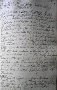 Stránka z barokního rukopisu ledvické trhové knihy na níž je zmíněna rodina Oettlů z Greiffenau.