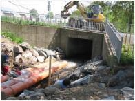 Oprava koryta Bílého potoka v jeho dolní části.