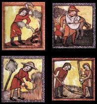 Postup prací souvisejících se zemědělskou kolonizací v severozápadních Čechách je zachycen v tzv. oseckém kalendáriu ze 14. století; na obrázcích je měsíc duben - mýcení lesa, červen vláčení pole branami, srpen - žně, září - výmlat.