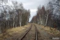 Poslední zhruba dva kilometry cesty absolvujeme tedy pohodlně po koleji, mineme patku po demontované předvěsti a na konci širokého vyššího náspu nás uvítá vjezdové návěstidlo stanice Litvínov